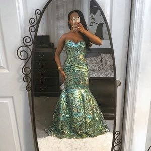Blue and aquamarine sequin mermaid style dress.